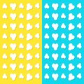 Popcorn popping pattern. Top air view. Heart shape frame. Cinema movie night sign symbol. Tasty food. Flat design style. Yellow an