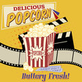 Popcorn poster with clapper board filmstrip and movie tickets on vintage grunge vector illustration Stock Photography