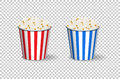 Popcorn red and blue buckets on transparent background. Vector. Royalty Free Stock Photo
