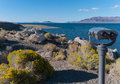 Popcorn rock viewpoint at pyramid lake nevada tufa formation Stock Photos