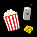 Popcorn and soda can movie tickets Stock Image