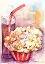 Popcorn and soda drink Royalty Free Stock Photo
