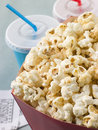 Popcorn With Soft Drinks And Cinema Tickets Royalty Free Stock Photo