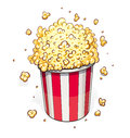 Popcorn in striped basket Royalty Free Stock Photo