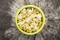 Popcorn top view of inside cup on natural background Royalty Free Stock Images