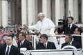 Pope francis bless faithful vatican city rome italy november on the popemobile blesses the in st peter s square Royalty Free Stock Photos