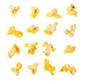 Popped kernels of pop corn snack isolated on white background Royalty Free Stock Image