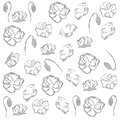 Poppies floral grey pattern on