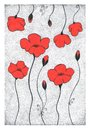 Poppies hand drawn dotted style ink pen illustration of red stylized Stock Photography
