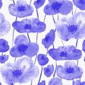 Poppies seamless pattern blue