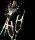 Popping Champagne And Toast Royalty Free Stock Photo