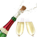 Popping cork from a champagne bottle isolated on white Stock Images