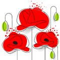 Poppy - Poppy Appeal. Modern Paper Design Isolated On White. Decorative Vector Flower Royalty Free Stock Photo