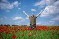 In poppy field Royalty Free Stock Image