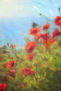 Poppy field digital watercolour painting of a landscape Royalty Free Stock Photo