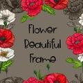 Poppy flower beautiful frame-vector