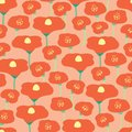 Poppy flower field seamless vector background. Red poppies meadow on pink coral peachy background. Retro floral background Hand