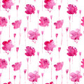 Poppy flowers from watery stains floral seamless pattern watercolor hand drawn illustration white background Royalty Free Stock Photo