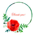 Poppy red flower watercolor illustration isolated on white background, rond frame, hand drawn artistic vector painting