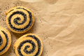 Poppy seed rolls homemade on paper photographed overhead with natural light selective focus focus on the top of the Stock Photos