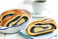 Poppy seed strudel on kitchen table Royalty Free Stock Image