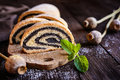 Poppy seed strudel sprinkled with powdered sugar Royalty Free Stock Photo