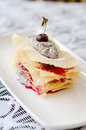 Poppy seeds mousse jewish mille feuille with Stock Image