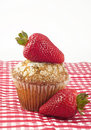 Poppyseed Muffin Topped with Strawberry Stock Images