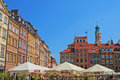 Popular Al Fresco Dining during Summer Time at Warsaw Old Town Market Place Royalty Free Stock Photo
