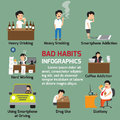 Popular bad habits infographics elements. Alcohol drinking, drug Royalty Free Stock Photo