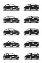 Popular cars in perspective vector illustrator Stock Photos