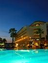 Popular hotel in night illumination Royalty Free Stock Photo