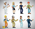 Popular jobs and professions set cartoon Royalty Free Stock Images
