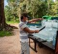 Welcome sight: The iceman at Angkor Wat Cambodia Royalty Free Stock Photo