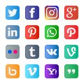 16 set of popular social media icons and buttons