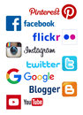 Popular social media icons Royalty Free Stock Photo