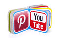 Popular social media logos book with pinterest and youtube Royalty Free Stock Image