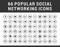66 Popular Social Media Icons Royalty Free Stock Photo