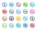 Popular Social Media Round Modern Icons Vector Set