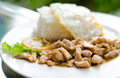 Popular Thai  food, (kaTeam  Pic Thai ). Stock Photos