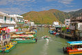 Popular tourist destination tai o fishing village taken on the bridge connecting the two islands of the same town Royalty Free Stock Photo