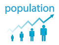 Population growth and graph on white background Royalty Free Stock Image