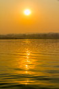 Por do sol no rio de irrawaddy Fotografia de Stock Royalty Free