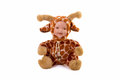 Porcelain baby doll wearing giraffe suit Royalty Free Stock Images