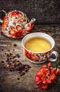 Porcelain cup of fragrant tea for medicinal herbs Royalty Free Stock Photo