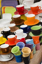 Cups of different sizes and colors Royalty Free Stock Photo