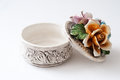 Porcelain jewelry box old with flowers Royalty Free Stock Photos