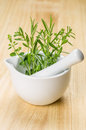 Porcelain mortar with fresh herbs on a wooden background Stock Photography
