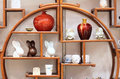 Porcelain show the many chinaware on wooden shelf Stock Photography