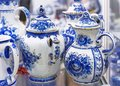 Porcelain tableware made in the Russian style Gzhel Royalty Free Stock Photo
